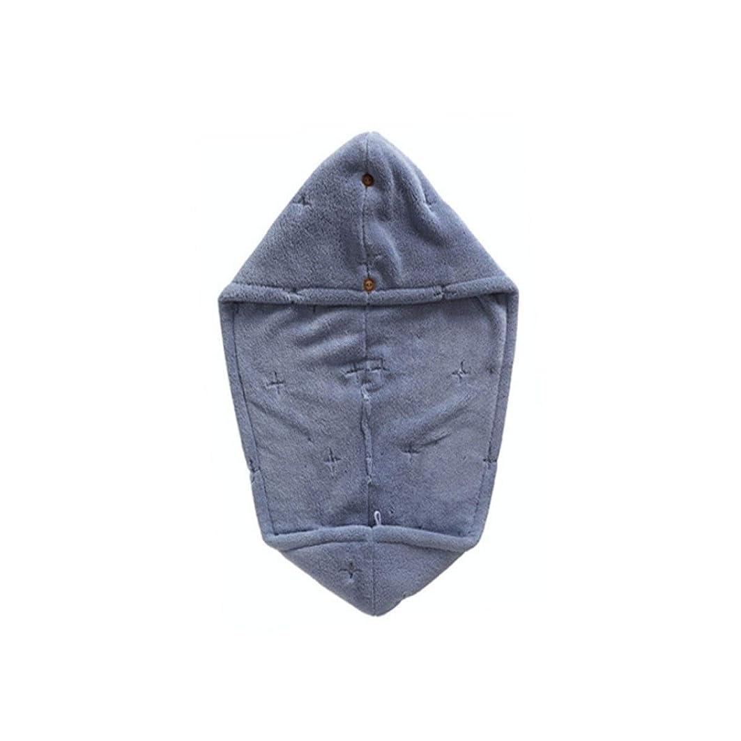 素子拍手シュートJJESC シャワーキャップ、二層吸収性柔らかい乾いた髪キャップ、乾いたタオル、タオル (Color : Blue)