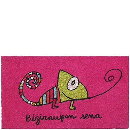 Laroom Felpudo diseño Biziraupen Sena, Jute & Base Antideslizante, Rosa, 40x70x1.8 cm