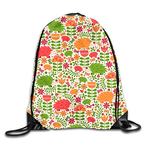show best Bright Hedgehog Fields Drawstring Gym Bag for Women and Men Polyester Gym Sack String Backpack for Sport Workout, School, Travel, Books 14.17 X 16.9 inch