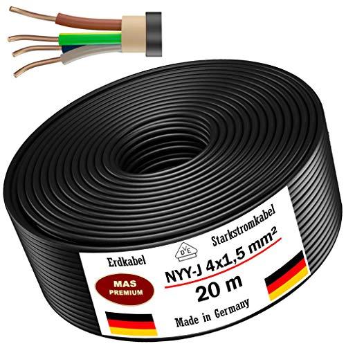 Erdkabel Stromkabel 5, 10, 15, 20, 25, 30, 35, 40,50, 75, 80 oder 100m NYY-J 4x1,5 mm² Elektrokabel Ring zur Verlegung im Freien, Erdreich (20 m)