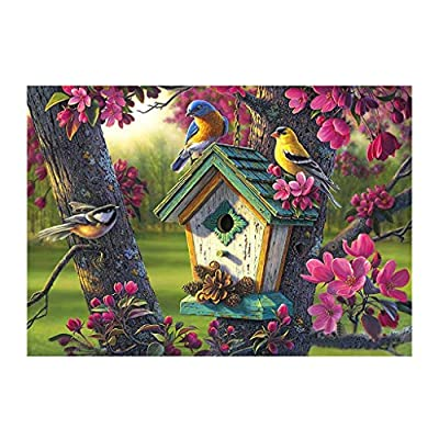 Luccase DIY Diamond Painting 5D Full Drill Cross Stitch Kits - Birds Family House Crystal Rhinestone of Picture Diamond Embroidery Arts Craft Christmas Gift 11.81''x15.74'' by Luccase