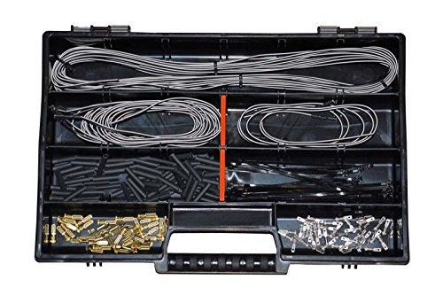 Fahrradkabel Lichtkabel Sortiment mit über 130 Teilen, Kabel Kontakte Kabelbinder Schrumpfschlauch