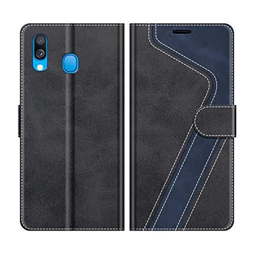 MOBESV Handyhülle für Samsung Galaxy A40 Hülle Leder, Samsung Galaxy A40 Klapphülle Handytasche Hülle für Samsung Galaxy A40 Handy Hüllen, Modisch Schwarz