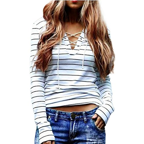 AIMTOPPY Women Stripe Long Sleeve Casual Tops T-Shirt Blouse (M)