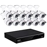 Tonton 1080P 16 Channel Security Camera System,16CH 5-In-1 Hybrid DVR Recorder with 12PCS