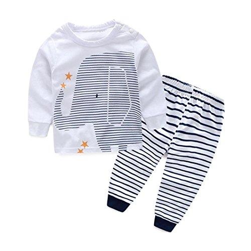 kingko® 1Réglez Bébés garçons Outfit Vêtements Impression à Manches Longues T-Shirt Tops + Pantalons Stripe Longues (2T)