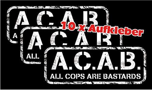 Racker-n-Roll A.C.A.B. All cops are bastards Aufkleber 10er Pack