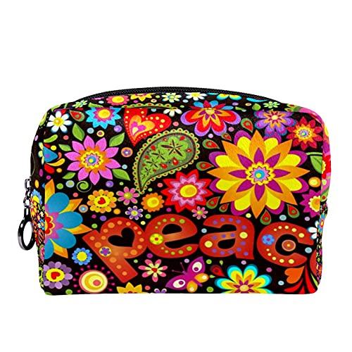 Makeup Tasche Tragbare Reisekosmetiktaschen, Tapete mit Hippie-Symbolik