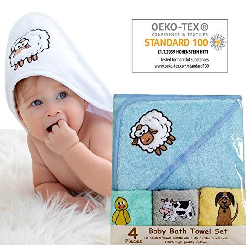 Bisoo - Toalla Bebe con Capucha - Set de Baño 4 Piezas con Capa de Baño 80x80 cm y 3 Paños 30x30 cm - 100% Algodón Turco - Regalo Original Recien Nacido Embarazada Baby Shower (Azul)