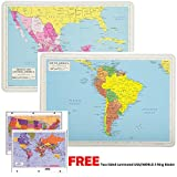 Painless Learning Educational Placemats for Kids Laminated Mexico Central America and South America Map Set Free Two Sided United States/World Maps 3-Ring Binder Washable
