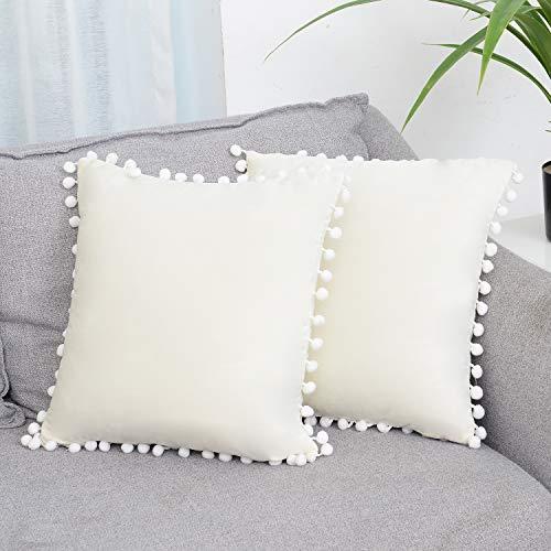 SEEKSEE Funda de cojín de Terciopelo sólido para sofá Cama, Decorativa, con Pompones, para sofá Cama, 50 x 50 cm, 2 Unidades, Crema, 20'x20'