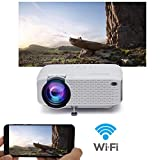 WiFi Projector, 2019 Newest Wireless Projector, Mini Projector Portable for Home Outdoors, USB