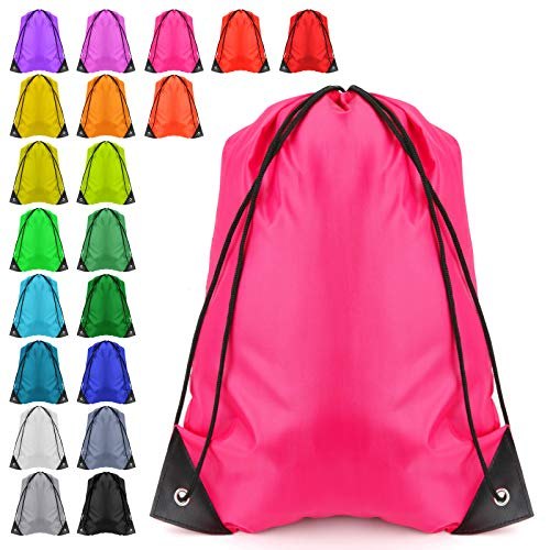 Drawstring Backpack Drawstring Bags Bulk String Backpack 20pcs Cinch Bag Storage Pouch Sport Nylon Travel Shoe bags Party Wrapping Gifts Bags (20 Color, 20PCS)