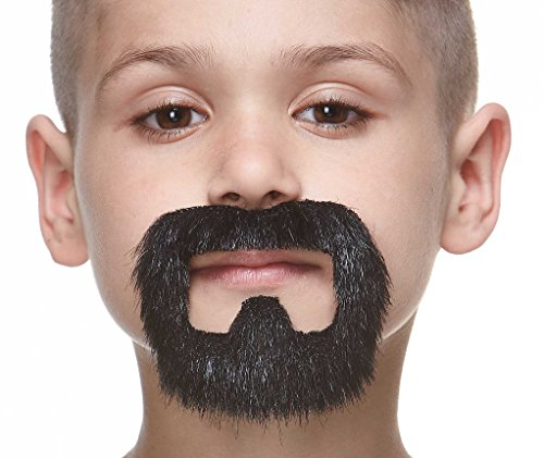 Mustaches Fake Beard, Self Adhesive, Novelty, Small Inmate False Facial Hair, Costume Accessory for Kids, Black Lustrous Color
