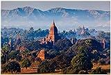 Wallario Poster - Myanmar - Tempel in der Ebene von Bagan
