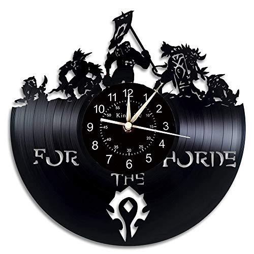 Smotly Vinyl Wanduhr, große Uhr mit World of Warcraft Thema Wanddekoration, Hauptdekoration Geschenk von Retro-Dämon Illidan Figur,A