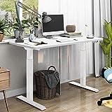 SANODESK Escritorio de altura regulable con armazón de mesa eléctrico de altura regulable, telescópico de 3 niveles con tablero, control de memoria y arranque suave / parada 2 compartimentos en blanco