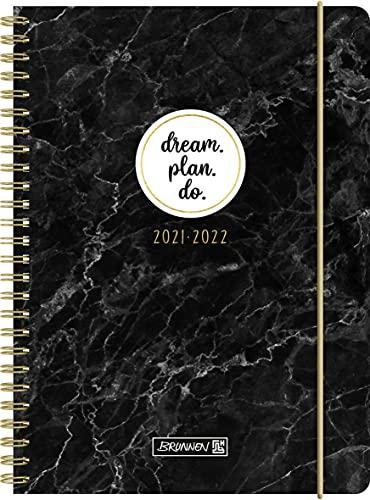"""BRUNNEN 1072155022 Schülerkalender 2021/2022 (18 Monate) """"Marble"""" 2 Seiten = 1 Woche, Blattgröße 14,8 x 21 cm, A5, PP-Einband"""