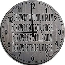 Mnk Large Wall Clock 12 inch Irish Toast Drinking Quote Every Wound Sorrow Thirst Barnwood Gray Wall Decor