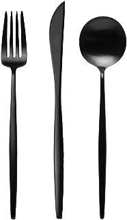 クチポール(Cutipol) MOON MATT/ムーンマット MO03BLF/MO04BLF/MO05BLF ブラック ディナー3点(ディナーナイフ・ディナーフォーク・ディナースプーン)