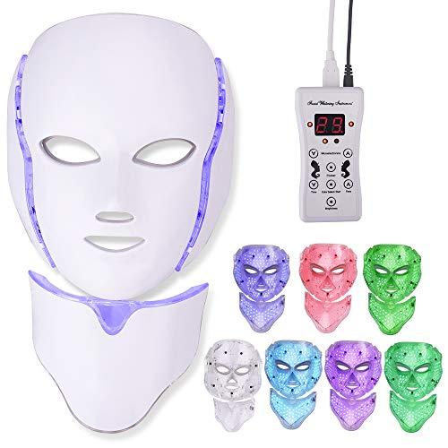 Máscara facial LED de 7 colores, máscara de terapia de luz con máscara de cuello, rejuvenecimiento de la piel, tratamiento facial antiarrugas, antienvejecimiento, piel tierna acné (Reino Unido)
