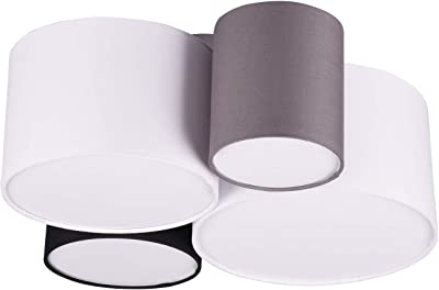 Trio Leuchten Hotel 693900417 Ceiling Light with Fabric Shade White / Black / Grey (Not Included) 1 x E27