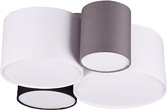 Trio Leuchten Lampa sufitowa Hotel 693900417, abażur z tkaniny biały/czarny/szary, bez 1 x E27