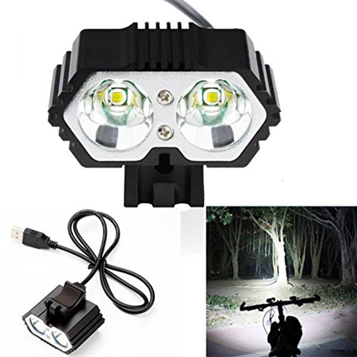 manadlian Linternas, LED USB Lámpara Impermeable 6000LM 2 X CREE XM-L T6 Faros Delanteros de Bicicletas (Negro, 100 x 85 x 60mm)