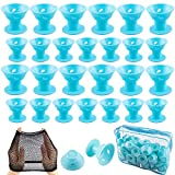 SIQUK 70 Pcs Hair Rollers Silicone Blue Hair Curlers Set Including 35 Pcs Large Hair Rollers and 35 Pcs Small Magic DIY Hair Style Tools (Bonus: 1 Pc Transparent Zipper Bag2 Pcs Black Wig Cap)