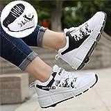 GWYX Zapatos De Patinaje De Chicas Jóvenes con 1 Ruedas 2 Ruedas Zapatos para Niños con Ruedas Ruedas Doble Rueda Zapatos Patín Zapatos Deportivos Zapatos Deportivos Zapatillas Deporte,White-38 EU
