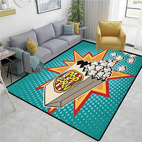 Why Choose YucouHome Movie Theater Fruit Extra Large Area Rug, Halftone Background with Retro Style ...