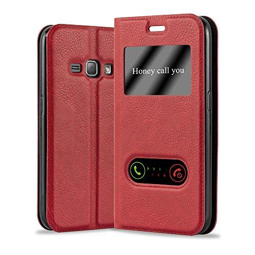 Cadorabo Custodia Libro per Samsung Galaxy J1 2016 in ROSSO ZAFFERANO - con Funzione Stand e Chiusura Magnetica - Portafoglio Cover Case Wallet Book Etui Protezione