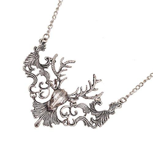 MagiDeal Unisex Antike Vintage Elch Hirsch Anhänger Halskette Kette Punk Stil Muster - Silber