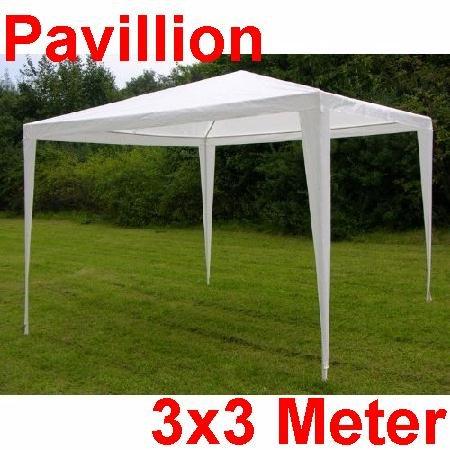 Land-Haus-Shop paviljoen 3x3 meter, partytent, tuintent, wit, goed voor vergaderingen party vrije tijd (LHS)
