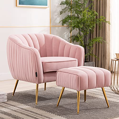 Artechworks Modern Pink Velvet Armchairs Tub Lounge Accent Chair with Footstool Ottoman Occasional Sofa Chairs Set with Gold Metal Legs for Living Room,Bedroom,Home Office Furniture Pink