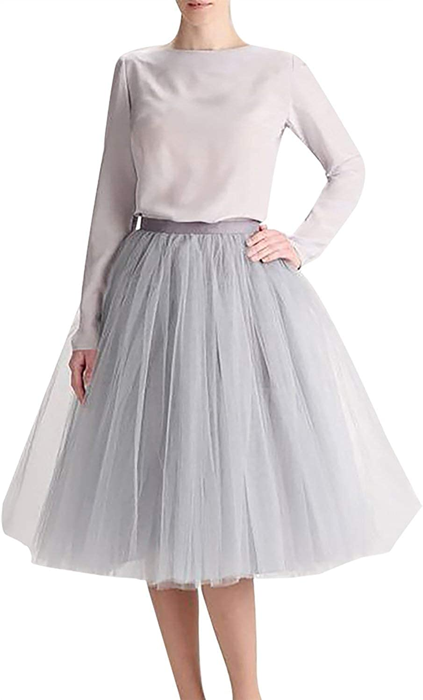 Women 5 Layers Tulle Skirt - Tea Length High Waist Bridal Midi Skirt Tutu for Wedding Party Evening Grey