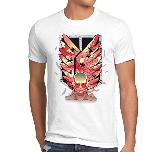 style3 Attack Wings T-Shirt Homme Bataillon d'exploration AOT Titans, Taille:L;Couleur:Blanc