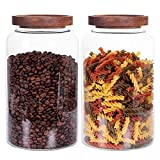 Large Glass Jar with Airtight Lid Set of 2 93 FL OZ(2750ml) glass canister set, Glass Food Containers Wooden Lid Suit for Kitchen Pantry for Flour, Tea, Coffee Beans, Sugar, Cookies(8.8 inch high)