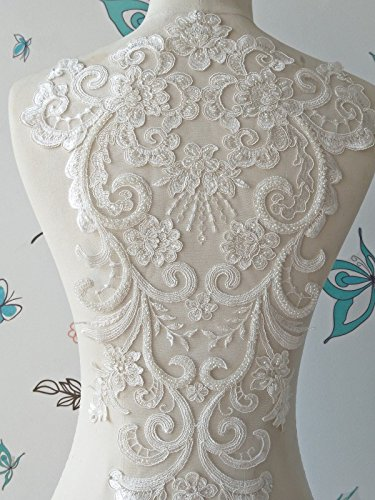 3D Flower Beaded Sequinned lace Applique Motif Sewing Bridal Wedding (2079)