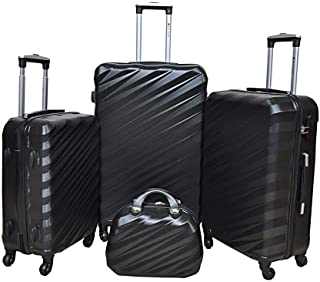 New Travel 0148 Abs Trolly 4W 4 Piece Set Luggage, Black