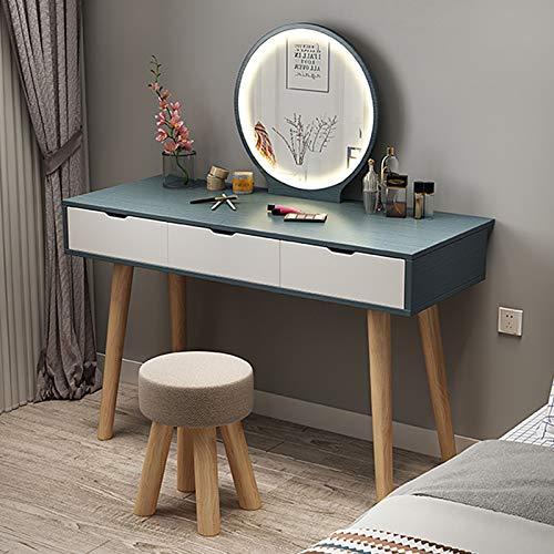 Schminktisch mit Schubladen Schminktische Stühle mit Einstellbarer Helligkeit LED-Leuchten Spiegel Make-up Tisch Kommode mit 3 Schubladen