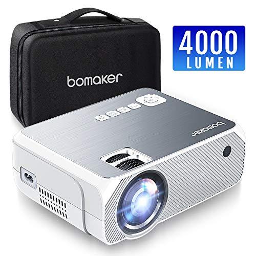 Proiettore, Mini Proiettore Portatile 4000 Lumen, BOMAKER LCD Videoproiettore Risoluzione Nativa 720p HD(Supporta 1080p) con Borsa Per Casa /Viaggio/Estero, Compatibile Cellulare/PS4/TV Box/ Micro SD