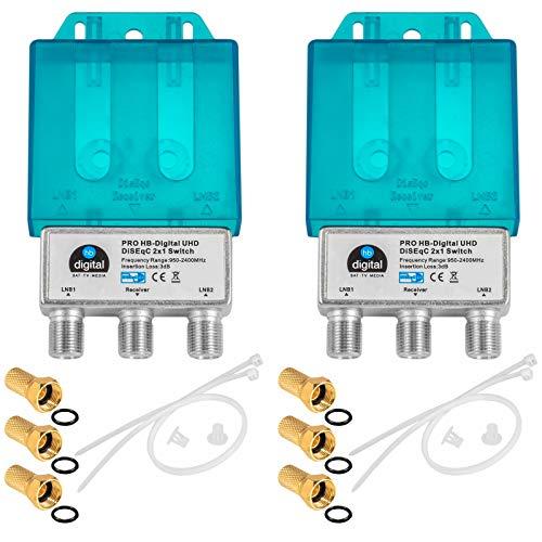 2X PRO DiseqC Schalter Switch 2/1 mit Wetterschutzgehäuse HB-DIGITAL 2X SAT LNB 1 x Teilnehmer / Receiver für Full HDTV 3D 4K UHD + 6 x Vergoldete F-Stecker Vergoldet