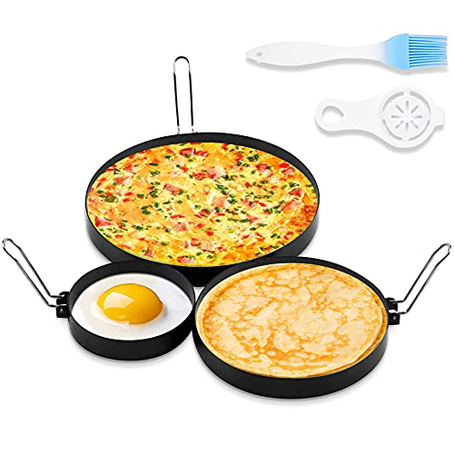 CAREUD 4 Inch Stainless Steel Egg Ring, 6 Inch Non Stick Pancake Ring,...