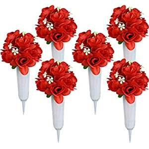 Red Rose Bouquets – Set of 6 White Cemetery Vases with Red Artificial Rose Flowers – Memorial Flowers (Red Rose W/ White Vase, 6)