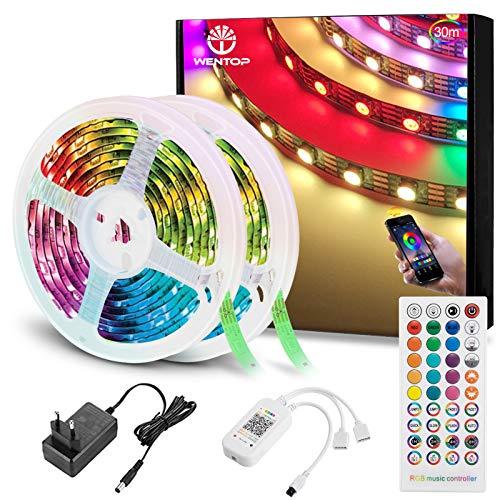 WenTop Tiras LED Bluetooth 30m, Luces LED RGB Colores con Control Remoto de 40 Botones y Fuente de Alimentación de 12V, Para Habitación, Dormitorio, Cocina, Techo, Festival Decorativos.