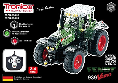 RC Auto kaufen Traktor Bild 2: Tronico 10070 - Metallbaukasten Traktor Fendt 939 Vario mit Fernsteuerung, Profi Serie, Maßstab 1:16, 790-teilig, grün*
