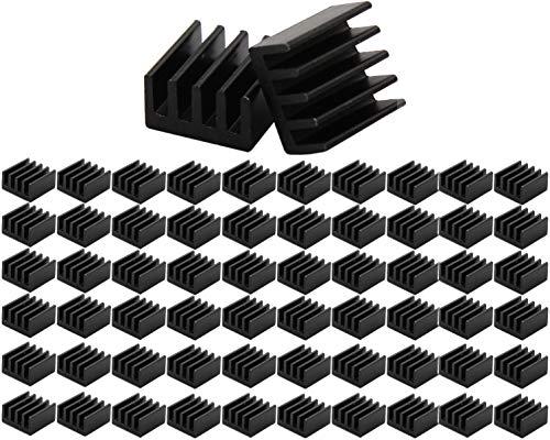 VISSQH 60 pièces Aluminium Noir Dissipateur Radiateur en kit, Mini Aluminium Dissipateur pour Refroidir Les régulateurs VRM Pilote Pas à Pas MOSFET VRam (8.8mmx8.8mmx5mm)
