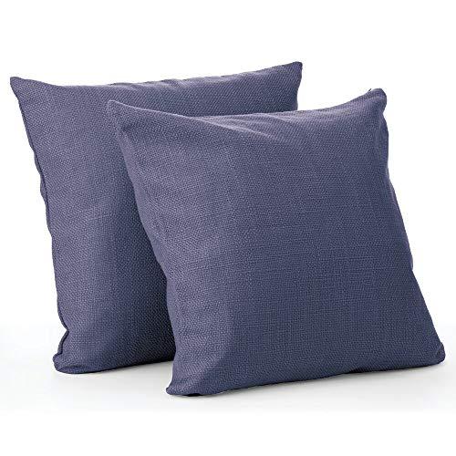 mDesign Juego de 2 fundas de cojines decorativas – Fundas de tela modernas con aspecto de lino y medidas de 51 cm x 51 cm – Forro para cojines de sofá, bancos y cama – azul oscuro