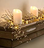 Plow & Hearth Battery Operated LED Lighted Artificial Pip Berry Holiday Garland, 72 in Long, White Berries with Warm White Lights